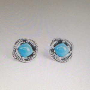 DY 7x7mm Turquoise Earrings